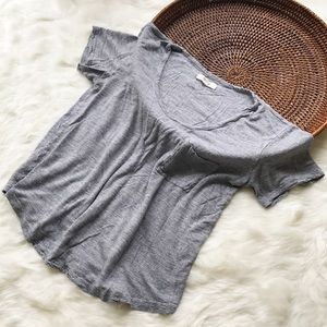 Madewell Grey Drape Pocket Tee Short Sleeve Shirt